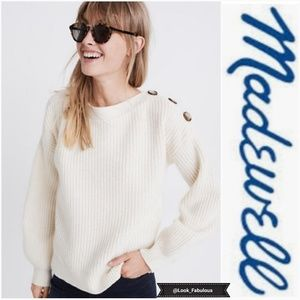 MADEWELL CREAM BOAT NECK 3 BUTTON SWEATER
